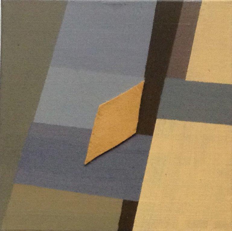 Lapje grond- acrcollage, doek, 25 x 25 cm, 2018