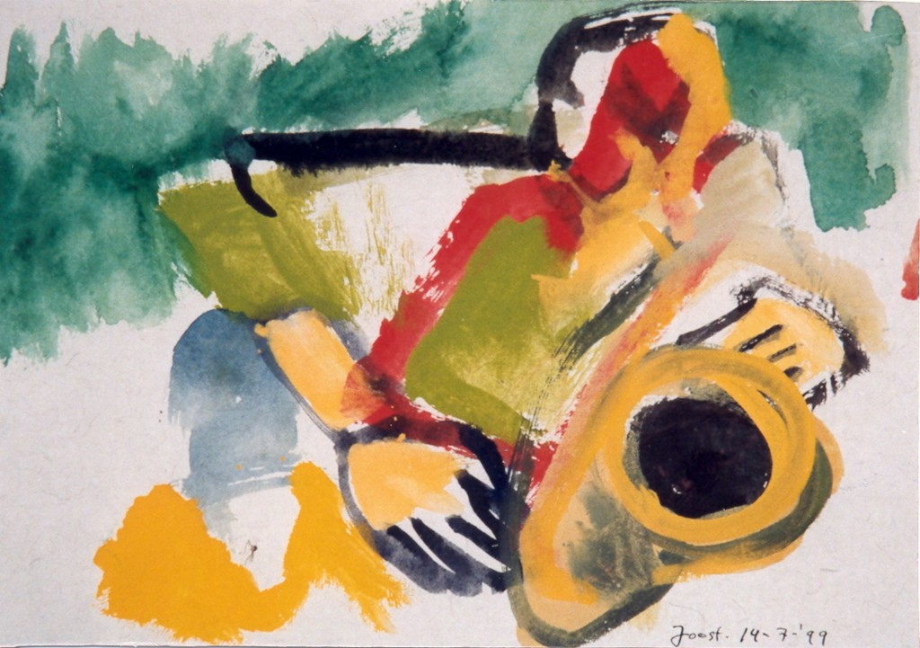 Saxofoonspeler, 1999 (tempera 34 x 44 cm)