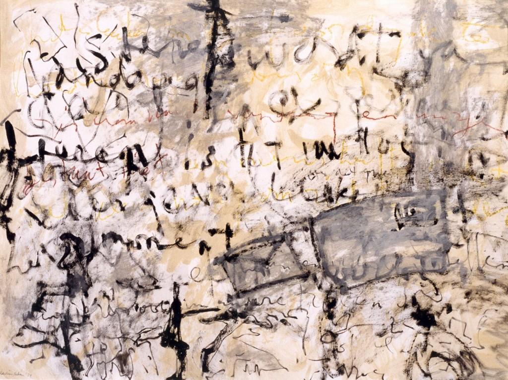 Schrijven, 1984 (gemengde techniek op papier, 60 x 80 cm)