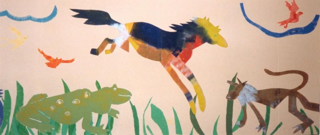 Springend paard, aap, kikker, detail Ark van Noah, 1991 (acryl)