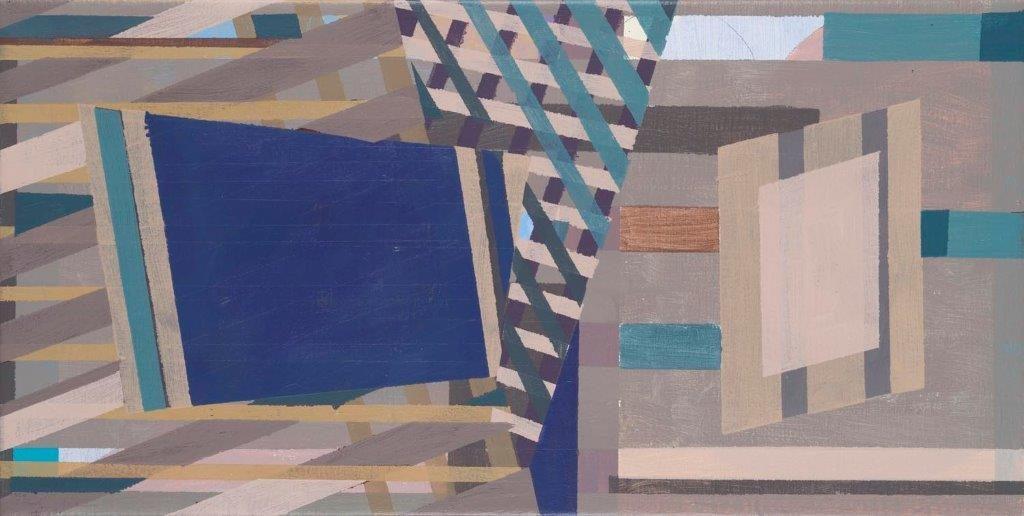 Compositie 21, acryl op doek, 34 x 64 cm (2018)