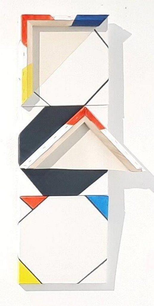 Hommage aan Mondriaan, 2017 (acryl + collage / doek, 90 x 45 cm)