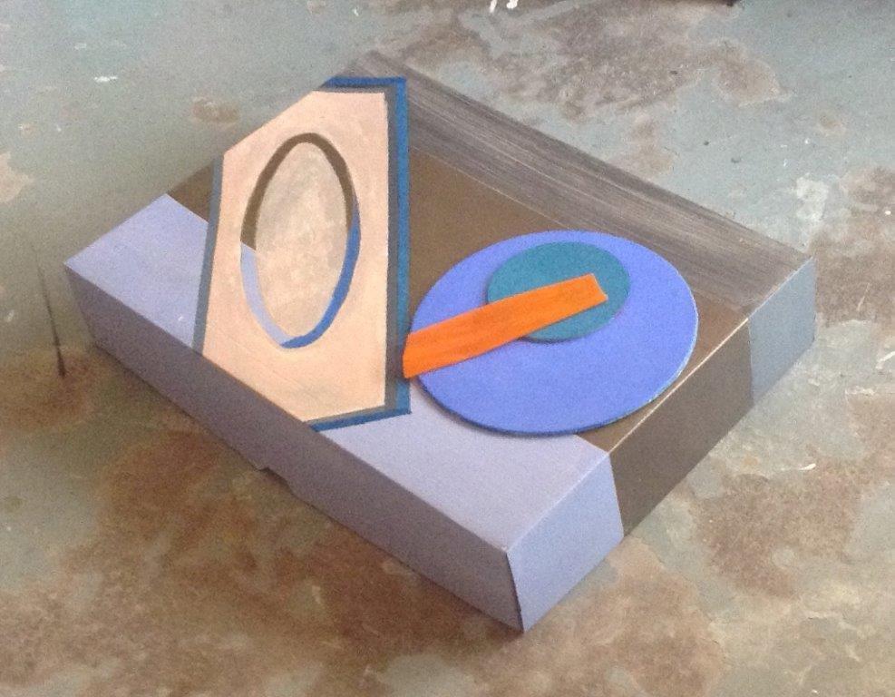 Object-1 (karton-acryl-collage) 34 x 45 x 7 cm - ellips