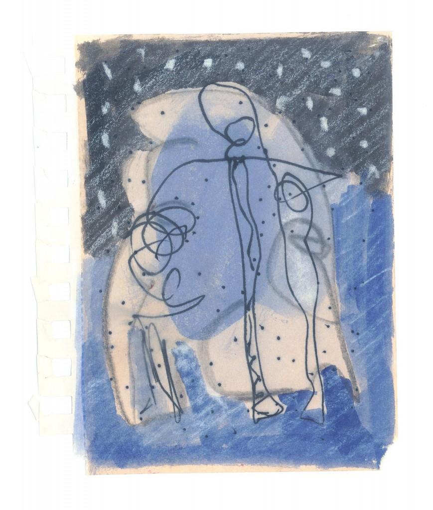 Nacht, 2010-11 (gemengde techniek op papier, 15 x 10,5 cm)
