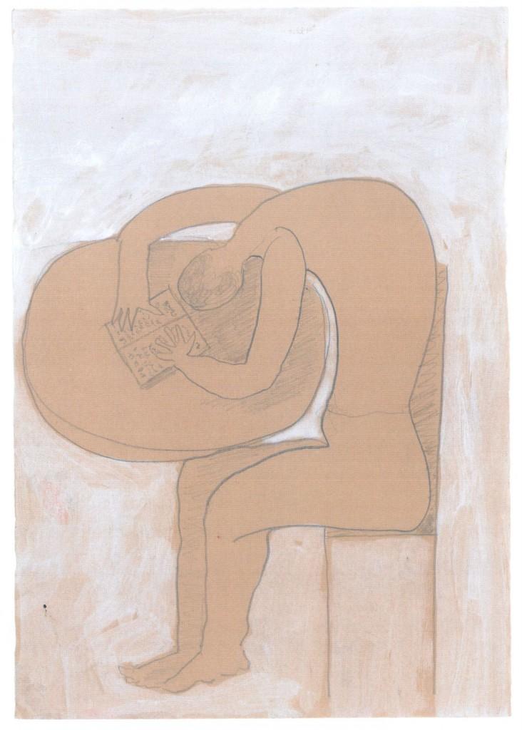 Lezende figuur, 2010-4 (gemengde techniek op papier, 25 x 17,5 cm)