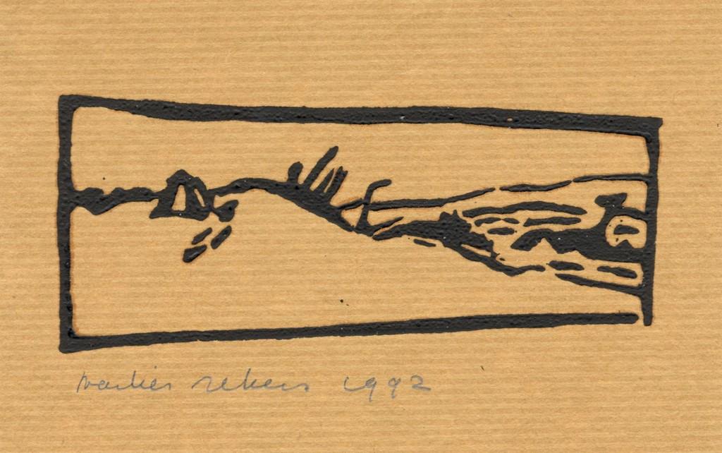zonder titel, 1992 (linoleumdruk op pakpapier, 10 x 15 cm)