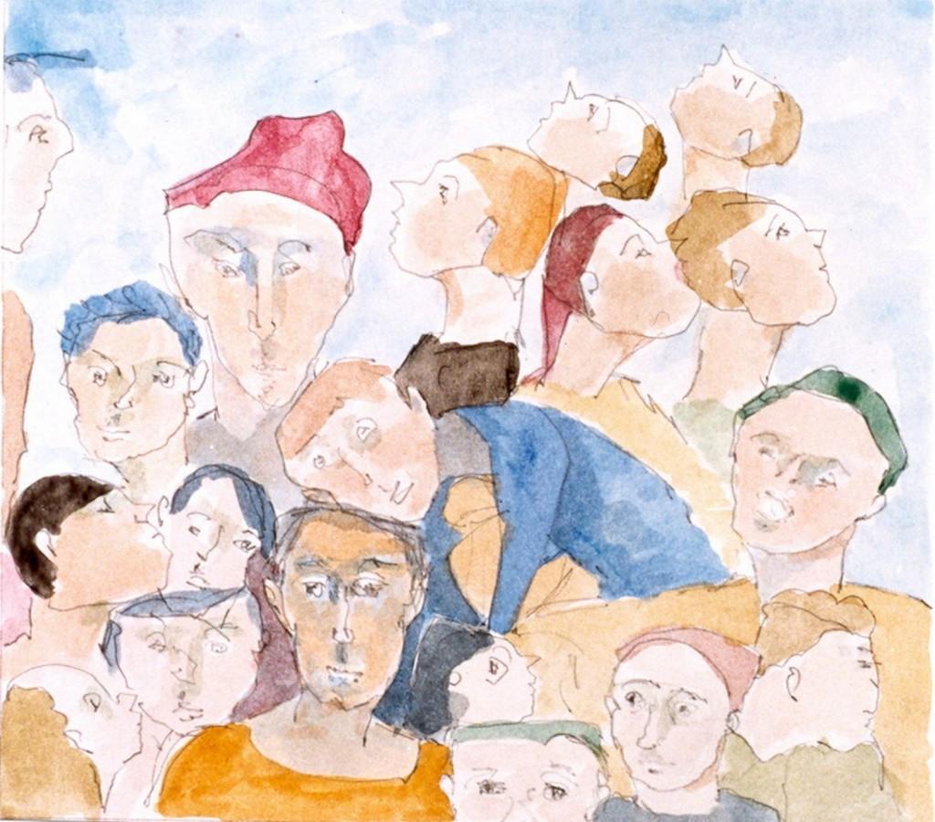zonder titel, 1998-01 (tempera op papier, 33 x 33 cm)